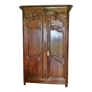 18th C. French Carved Armoire For Sale