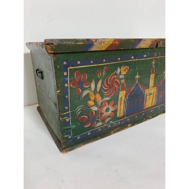 Wood 19th C. Eastern European Antique Folk Art Painted Chest For Sale - Image 7 of 13