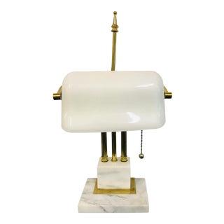 1970s Mid-Century Modern White Banker's Lamp Marble Base For Sale