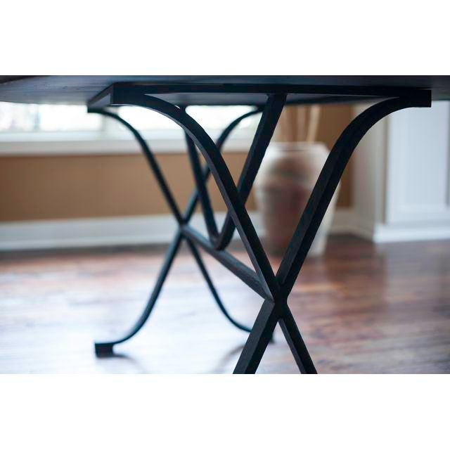 Contemporary Arhaus Oval Copper Rod Iron Legged Dining Table For Sale - Image 3 of 7