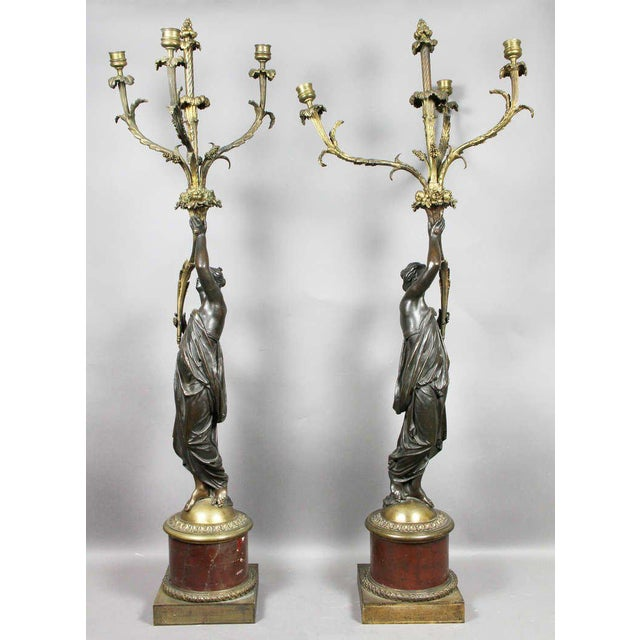 Gold Pair of Louis XVI Bronze and Ormolu Candelabra For Sale - Image 8 of 10