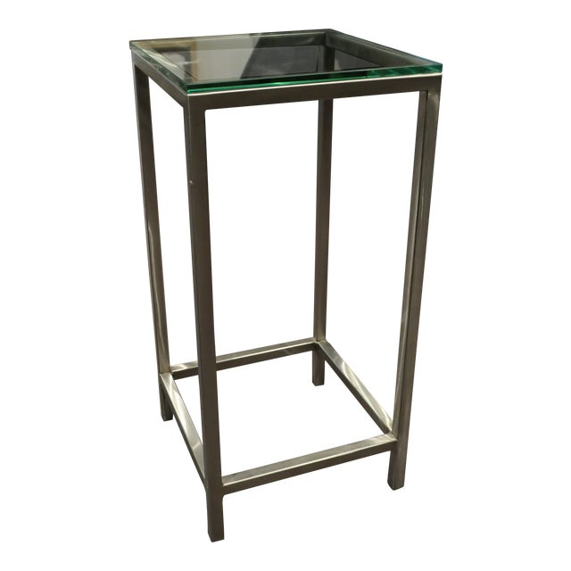 Modern Chrome and Glass Top Side Table For Sale