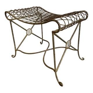 Sculptural Art Nouveau Style Wrought Iron Garden Bench For Sale