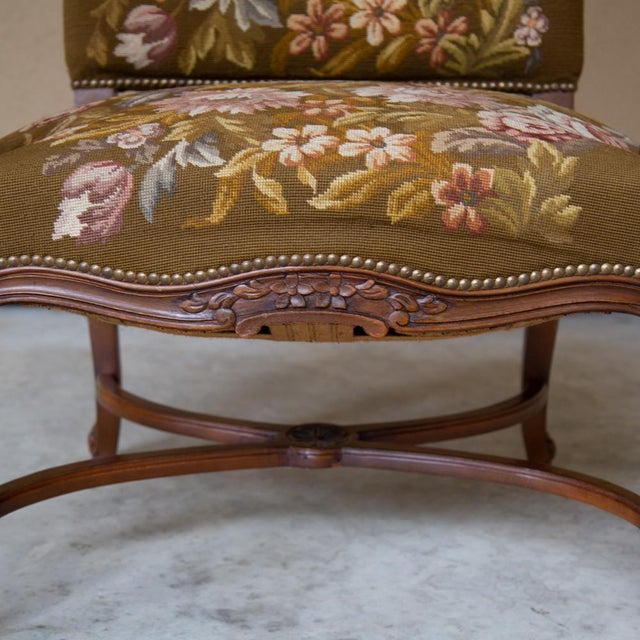 Wood 19th Century Antique French Louis XV Original Needlepoint Tapestry Armchair For Sale - Image 7 of 13