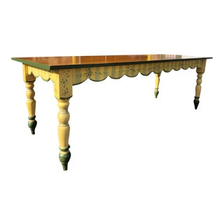 Vintage American Farmhouse Harvest Pine Handpainted Dining Table For Sale