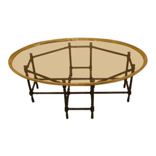 Vintage Baker Glass Tray Top Bamboo Style Coffee Table For Sale