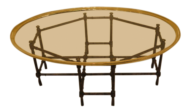 Genial Vintage Baker Glass Tray Top Bamboo Style Coffee Table