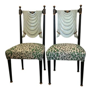 Hollywood Regency Trompe-L'œil Side Chairs - A Pair For Sale