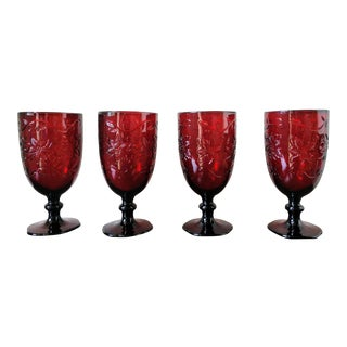 Mid-Century Ruby Red Poinsettia Wine Goblets/ Drinking Glasses - Set of 4 For Sale