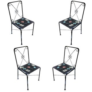 Scrolling Iron Patio/Outdoor Lounge Chair W/ Pad Seat, Set of Four For Sale