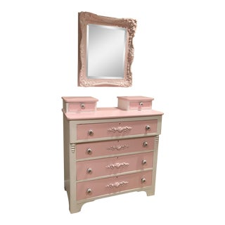 Pink & White Antique Dresser & Mirror - A Pair