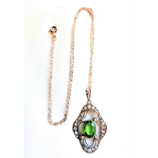 Art Nouveau 1910s Antique 800 Silver and Peridot Paste Lavaliere Pendant Necklace For Sale - Image 3 of 8