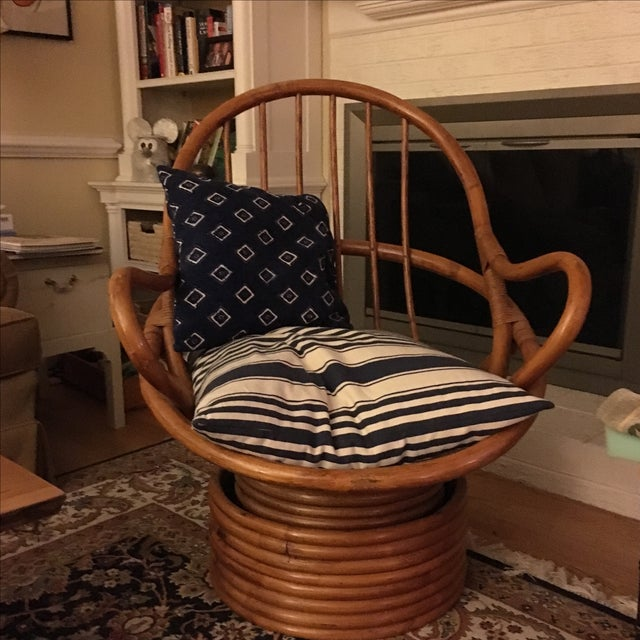 Brown Vintage Bamboo Cocoon Swivel Chair For Sale - Image 8 of 8