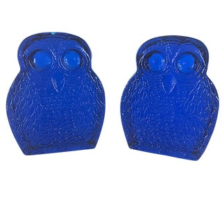 Blenko Cobalt Glass Owl Bookends - a Pair For Sale