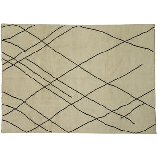 Contemporary Moroccan Modern Style Area Rug - 10′ × 13′10″ For Sale