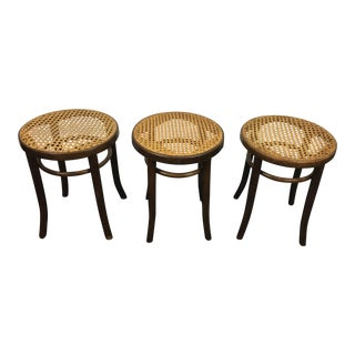 Antique Bentwood Stools With Cane Seats - Set of 3