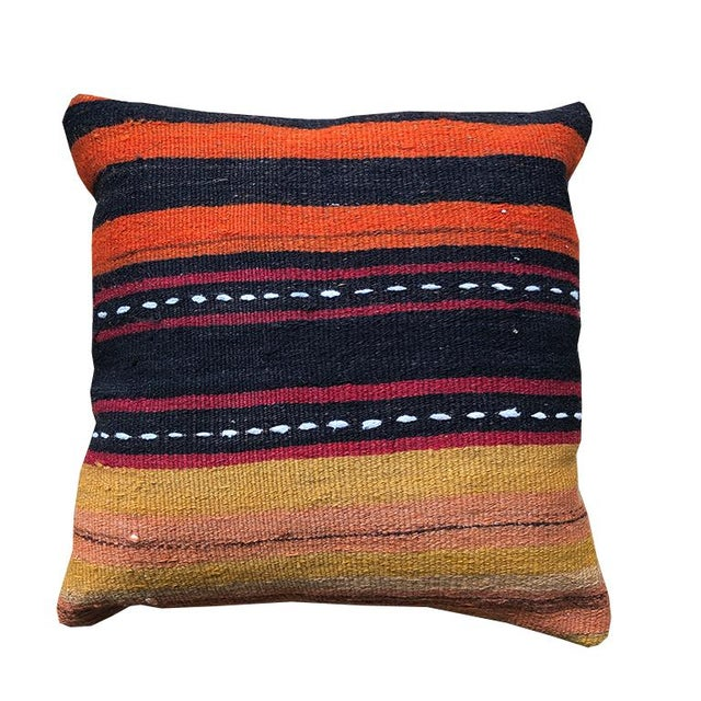 Square Striped Black Orange Yellow White Turkish Rug Pillow With Zipper Back With Blue and Down Insert For Sale - Image 4 of 7