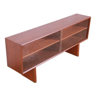 Svend Aage Larsen for Faarup Danish Modern Teak Glass Front Bookcase or Credenza For Sale