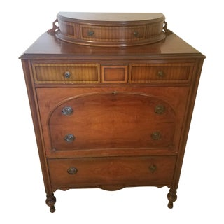 1930s Regency Walnut Highboy Dresser For Sale