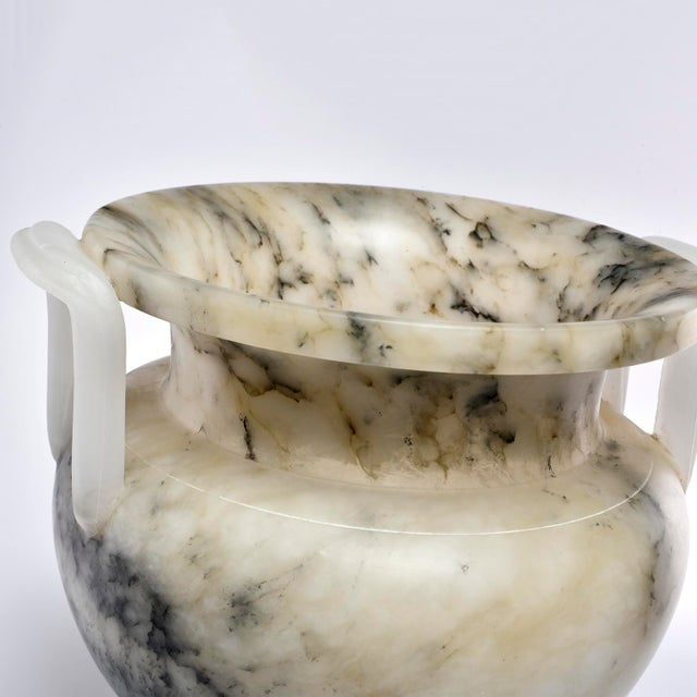Alabaster Italian Carved Alabaster Vase With Handles For Sale - Image 7 of 11