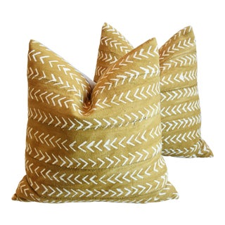 "Boho Chic Malian Gold & Cream Feather/Downs Pillows 22"" Square - Pair For Sale"