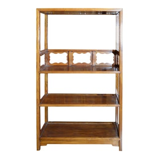 Vintage 1960s Lacquered Yumu Wood Chinese Bookcase with Hand-Carved Medallions For Sale