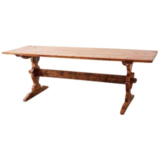 Rustic Italian Baroque Style Pine Trestle Farm Table For Sale