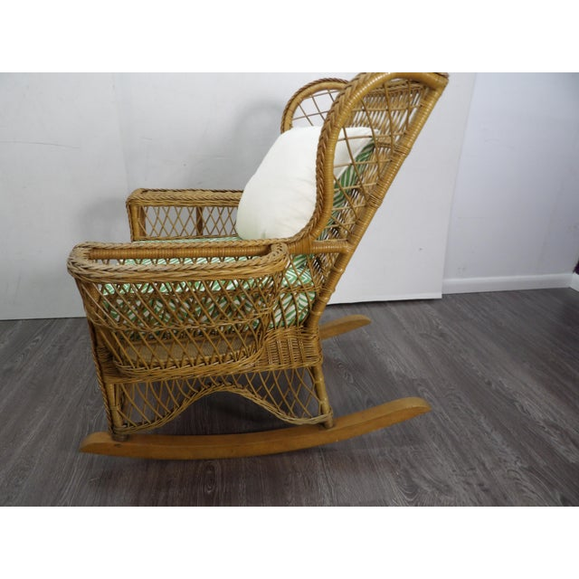 Henry Link Vintage Henri Link Wicker Rocking Chair With Magazine Rack For Sale - Image 4 of 7