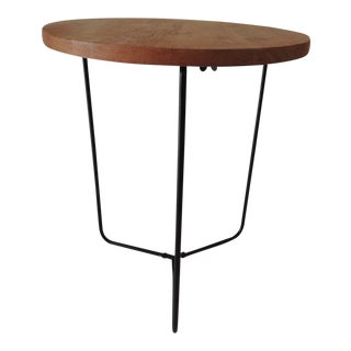 Folding Round Side Table With Wood Top and Pencil Legs For Sale