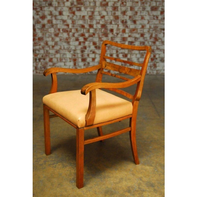 Mid-Century Mahogany and Leather Library Chairs - A Pair For Sale - Image 5 of 9