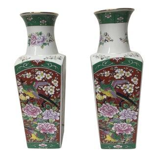 Japanese Multi Color Motif Vases - a Pair For Sale