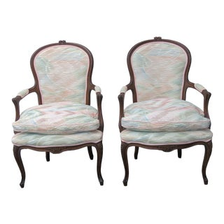 French Pair of Side Living Bed Room Den Fireplace Chairs 2412 For Sale