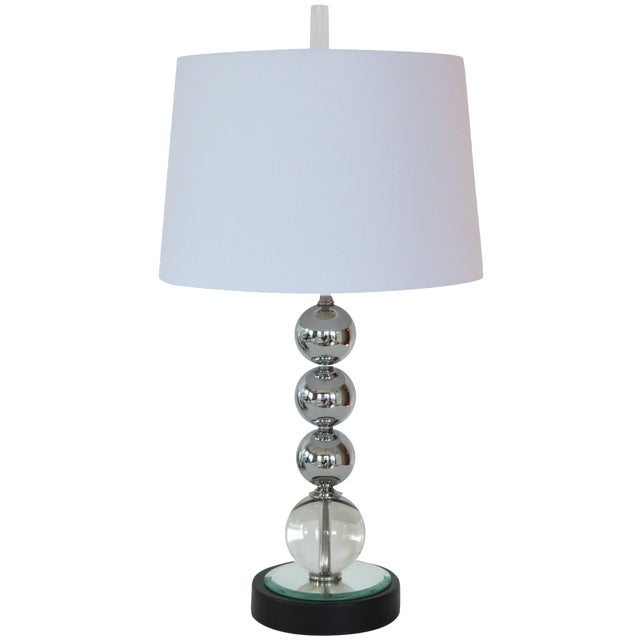 Vintage Chrome and Crystal Sphere Lamp - Image 1 of 5
