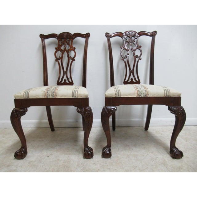 Modern Ethan Allen 18th Century Style Mahogany Chippendale Dining Room Side Chairs- A Pair For Sale - Image 12 of 12