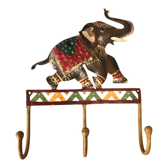 Metal Hand Painted Elephant Coat Hook For Sale