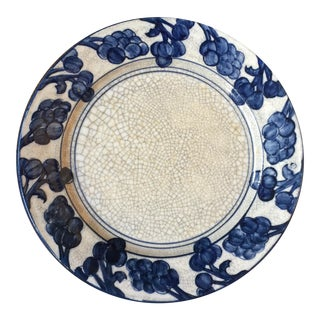 Hand Decorated Dedham Pottery Plate in the Grape Pattern, 1920s