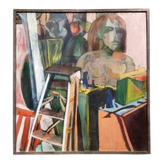 Last Call Cubist Mid Century Modern Still Life With Ladder Oil on Canvas