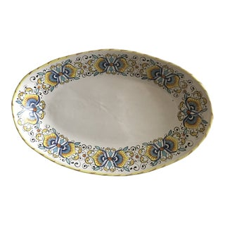 Vintage Italian Hand-Painted Pottery Bread Dish