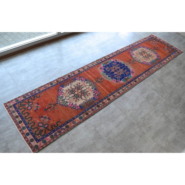 """1970s Oushak Runner Rug Turkish Hand Knotted Distressed Hallway Rug - 3'1"""" X 12'7"""" For Sale - Image 5 of 9"""