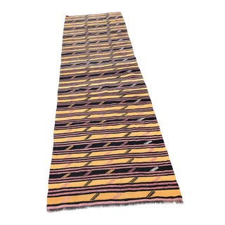 Vintage Woven Anatolian Kilim Runner -3′2″ × 11′6″-Gold Black Pink Striped Long Kilim Rug-Flatwoven-Boho Chic Rug-Mid Century Modern Decor Accent Rug For Sale