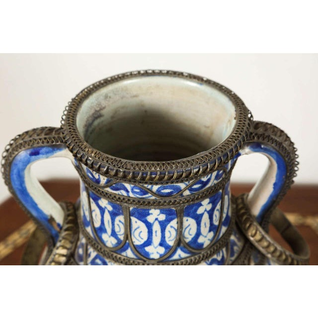 Late 19th Century Antique Moroccan Ceramic Vase From Fez For Sale - Image 5 of 9
