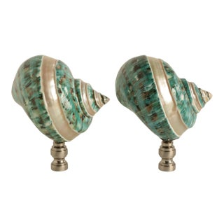 Teal Mother of Pearl Banded Shell Lamp Finials - a Pair For Sale
