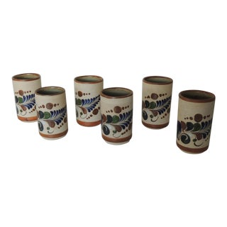 Set of Six Round Mexican Talavera Drinking Glasses For Sale