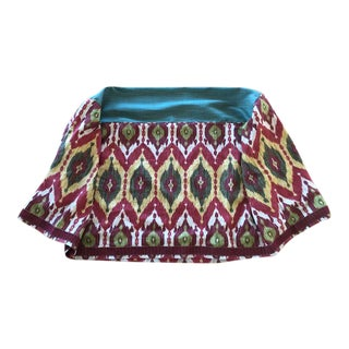 Boho Chic Bold Custom Made Ikat Fabric Table Cover For Sale