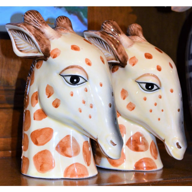 Ceramic Vintage Fitz & Floyd Porcelain Giraffe Bookends - A Pair For Sale - Image 7 of 11