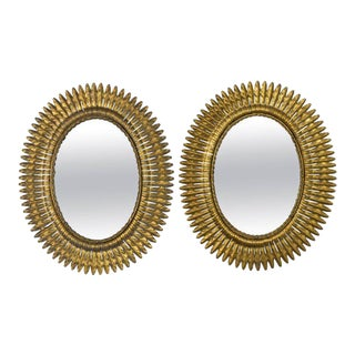 Unusual Pair of Spanish 1940s Gilt Metal Sunburst Mirrors For Sale