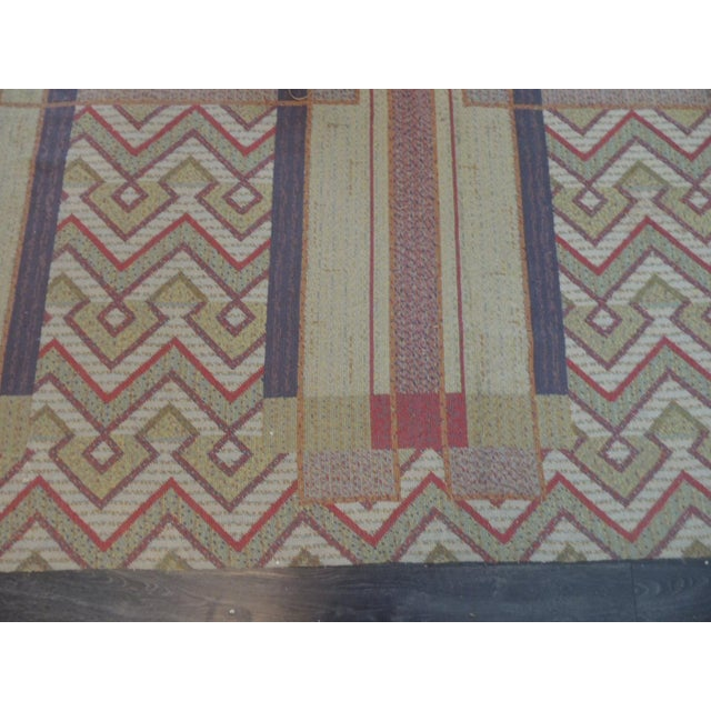 Frank Lloyd Wright Arts &Crafts inspired rug made by Michaelian & Kohlberg in a needlepoint inspired woven Technic....