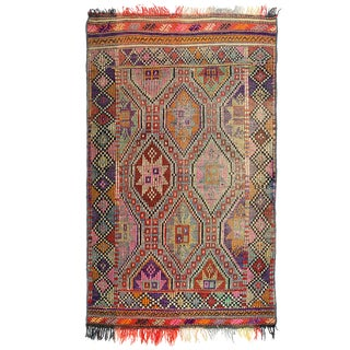 Vintage Turkish Kilim Cicim Rug - Warm Neutral Colors For Sale