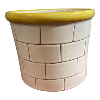 Vintage Late 20th Century White Ceramic Planter With Yellow Rim Made in Portugal For Sale