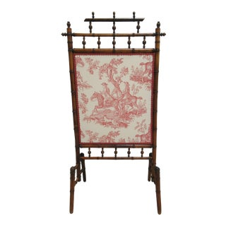 Antique Victorian Toile Stick and Ball Bamboo Fire Screen